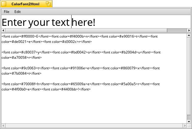 Convert text to colored html