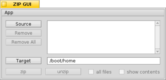 GUI for the command line tool zip
